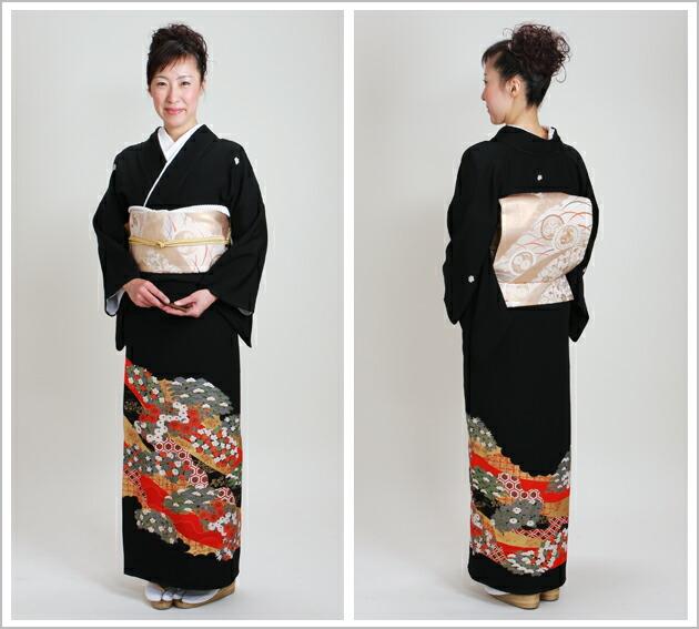 黒留袖 レンタル [標準サイズ:150cm〜165cm] 留袖 レンタル 着物 留め袖 NT-582