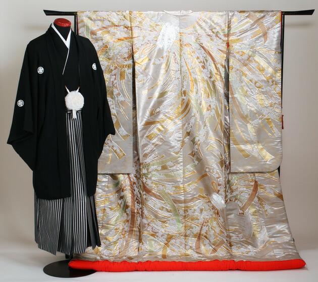色打掛レンタル 金銀色/金銀熨斗目文様 NT-809