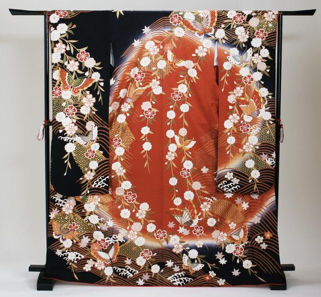 振袖 レンタル,〜168cm 黒・エンジ/蝶にしだれ桜波柄 結婚式 成人式 結納 NT-157