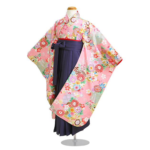 【紫式部】袴 レンタル 女の子/5〜7歳 七五三着物 7歳 七五三着物7歳 ピンク色/花 卒園式 結婚式 ★NT-袴602