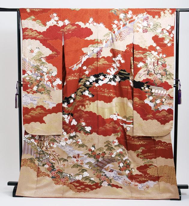 振袖 レンタル,〜165cm オレンジ色/御所車 結婚式 成人式 結納 NT-192