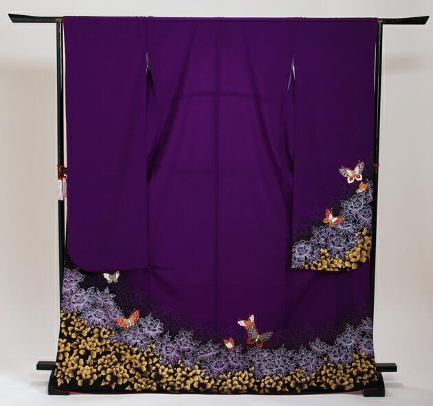 振袖 レンタル,〜168cm 紫色/蝶々付下げ風 結婚式 成人式 結納 NT-194