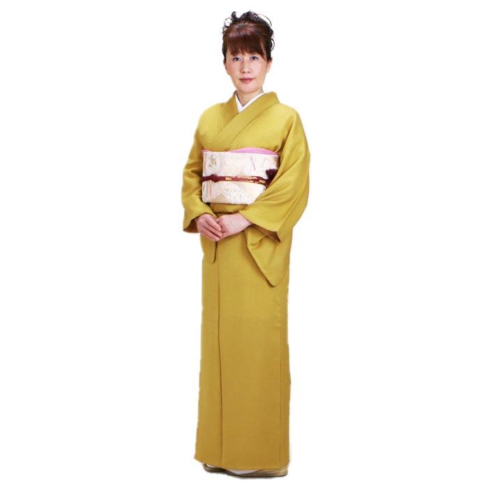色無地 レンタル 袷 10月〜5月向け 高級正絹 からし色 着物 一つ紋 お茶会 入学式 卒業式 NT-79