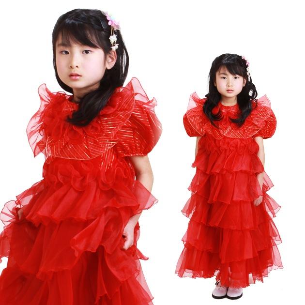 子供 ドレス レンタル 7〜9才 赤色 半袖 5-7c