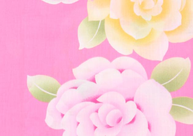 【浴衣 レンタル】レディース 3点セット☆浴衣・帯・下駄☆nt-y008 ピンク/バラ