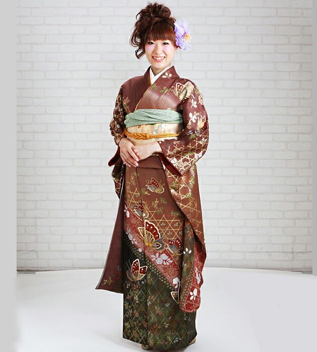 振袖 レンタル,〜168cm 茶・エンジ色/蝶 結婚式 成人式 結納 NT-176