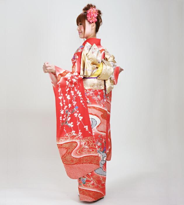 振袖 レンタル,〜168cm 朱赤色/流水に花 結婚式 成人式 結納 NT-95