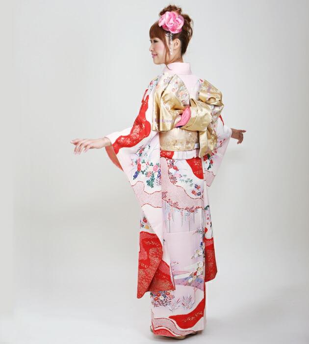 振袖 レンタル,〜168cm 薄ピンク色/花車 結婚式 成人式 結納 NT-96