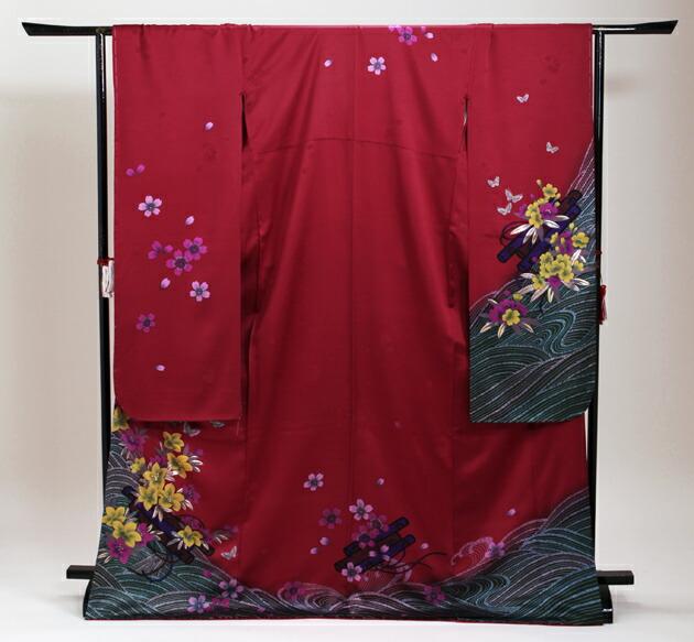 振袖 レンタル,〜168cm 赤色/流水に巻物花 結婚式 成人式 結納 NT-222