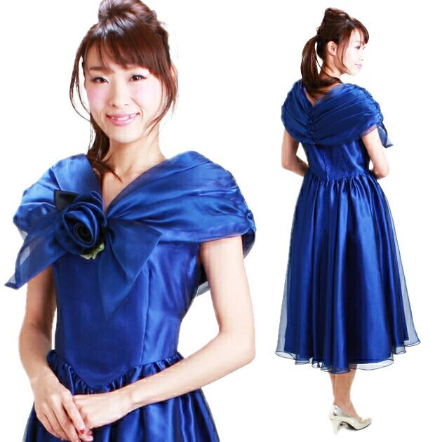 レディースドレス レンタル 11-13号 ブルー ワンピース uco-0406
