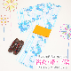 【浴衣 レンタル】レディース 3点セット☆浴衣・帯・下駄☆nt-y011 白地に水色 / 花&ストライプ波紋