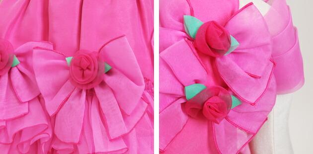 子供 ドレス レンタル 7〜9才 ピンク色 オフショルダー dj-088
