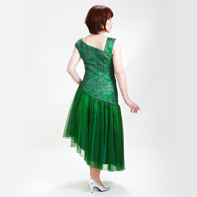 レディースドレス レンタル 9号 グリーン ワンピース 151428