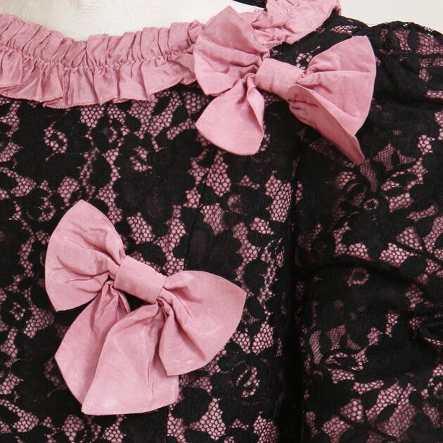 子供 ドレス レンタル 7〜8才 黒ピンク色 長袖 ej344