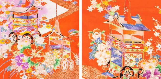 袴 レンタル 女の子/5〜7歳 七五三着物 7歳 七五三着物7歳 朱色/山鉾山車 卒園式 結婚式 NT-袴メ