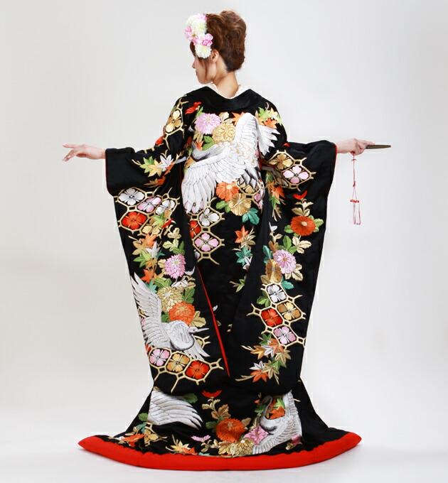 色打掛レンタル 黒色/四季花に鶴 NT-211