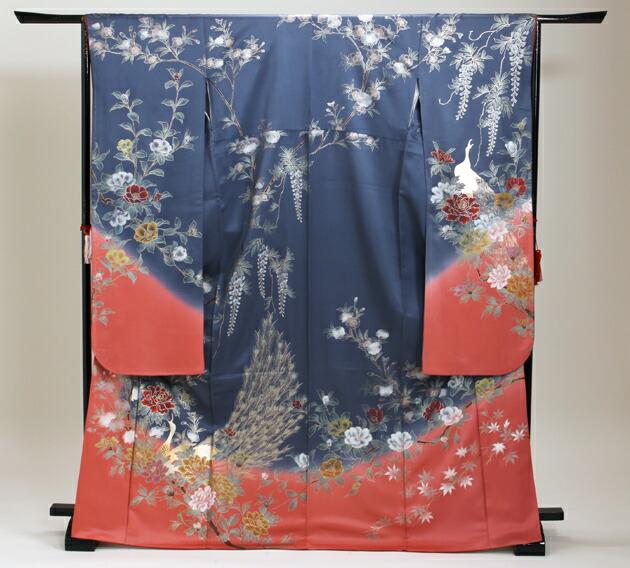 振袖 レンタル,〜168cm 青紫色/孔雀にぼたん藤 結婚式 成人式 結納 NT-191