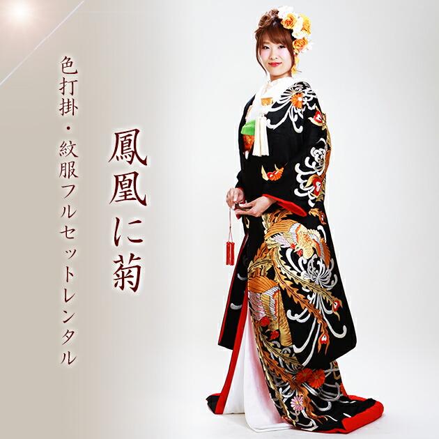 色打掛レンタル 黒色/亀甲に鶴 NT-165
