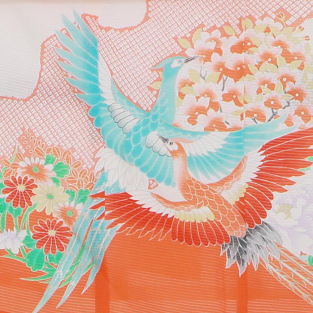 夏用 絽〔お宮参り レンタル 夏物〕赤色・白色/鶴 ro-139 初着 産着 お宮参りレンタル 祝着 よだれかけ