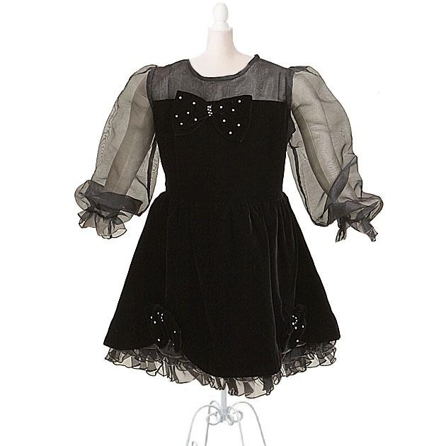 子供 ドレス レンタル 7〜9才 黒色 長袖 7-9k