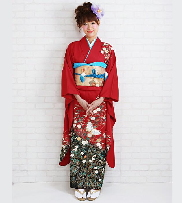 振袖 レンタル,〜168cm 赤色/蝶に四季花 結婚式 成人式 結納 NT-209