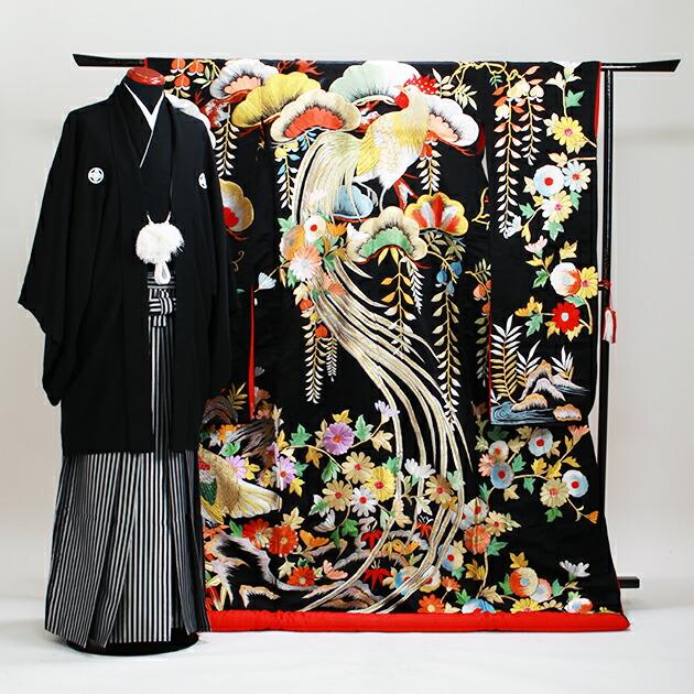 色打掛レンタル 黒色/老松に藤 NT-134