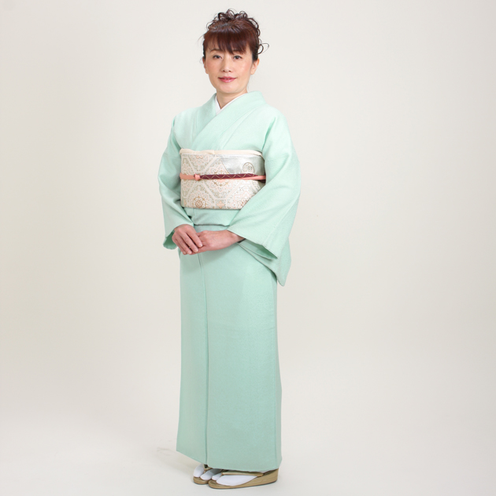 色無地 レンタル 袷 10月〜5月向け 高級正絹 ブルー色 着物 一つ紋 お茶会 入学式 卒業式 NT-68