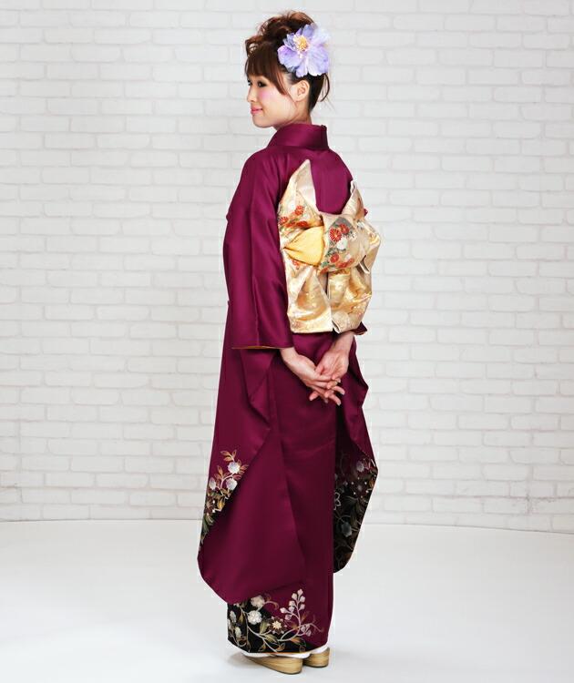振袖 レンタル,〜168cm ワイン色/鳳凰に花 結婚式 成人式 結納 NT-206