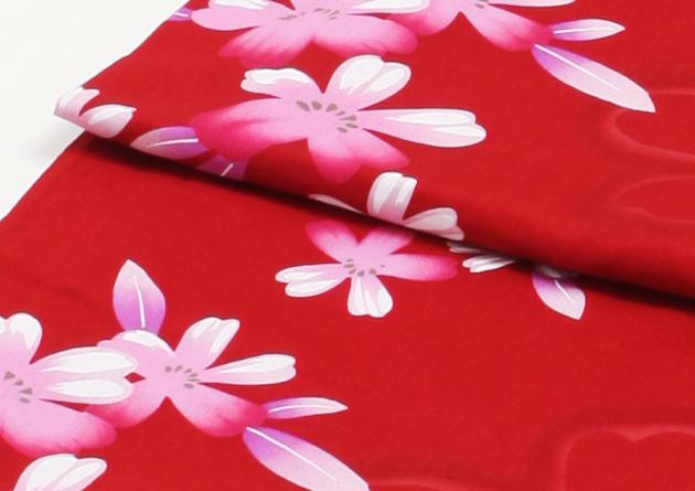 【浴衣 レンタル】レディース 3点セット☆浴衣・帯・下駄☆nt-y017 赤色/桜
