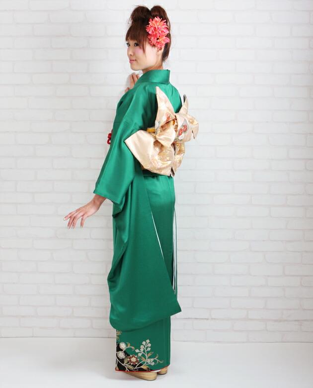 振袖 レンタル,〜168cm グリーン色/花車付下げ風 結婚式 成人式 結納 NT-216