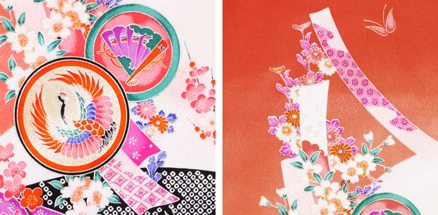 袴 レンタル 女の子/5〜7歳 七五三着物 7歳 七五三着物7歳 赤色/たんざく小紋 卒園式 結婚式 NT-袴104