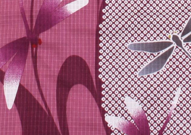 【浴衣 レンタル】レディース 3点セット☆浴衣・帯・下駄☆nt-y018 あずき色/とんぼ