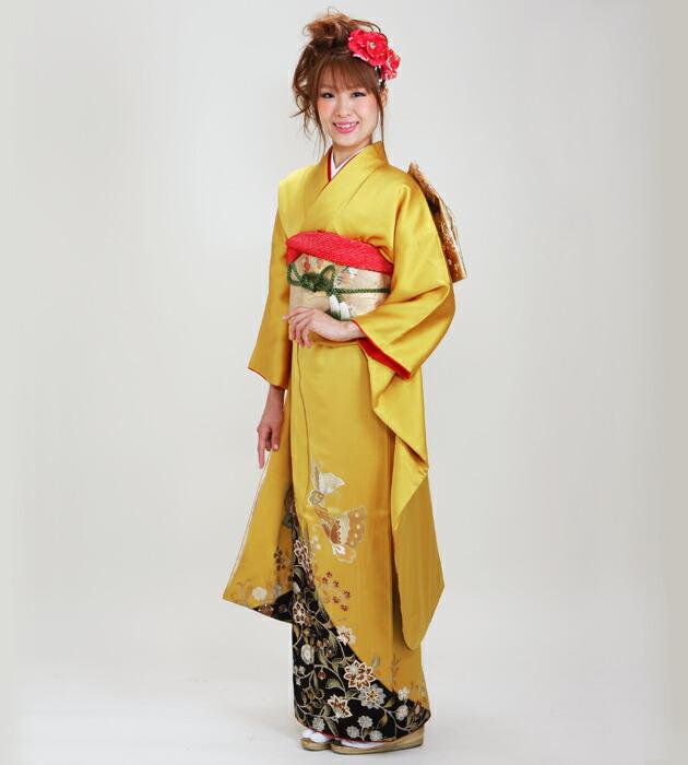 振袖 レンタル,〜168cm からし色/花蝶 結婚式 成人式 結納 NT-217