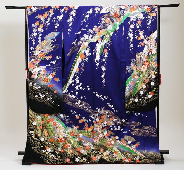 振袖 レンタル,〜168cm 青紫色/扇面に御所車四季花 結婚式 成人式 結納 NT-208