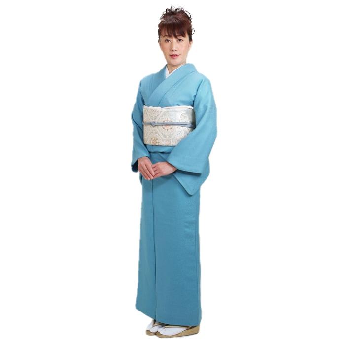 色無地 レンタル 袷 10月〜5月向け 高級正絹 濃ブルー色 着物 一つ紋 お茶会 入学式 卒業式 NT-74