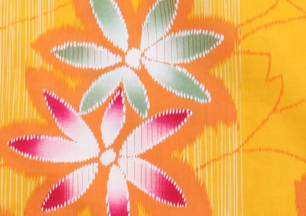 【浴衣 レンタル】レディース 3点セット☆浴衣・帯・下駄☆nt-y019 黄色/花