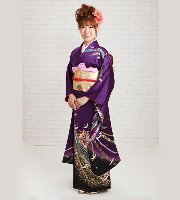 振袖 レンタル,〜168cm 紫色/花紋熨斗飛鶴 結婚式 成人式 結納 NT-212