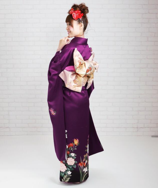 振袖 レンタル,〜168cm 紫/四季花に蝶 結婚式 成人式 結納 NT-220