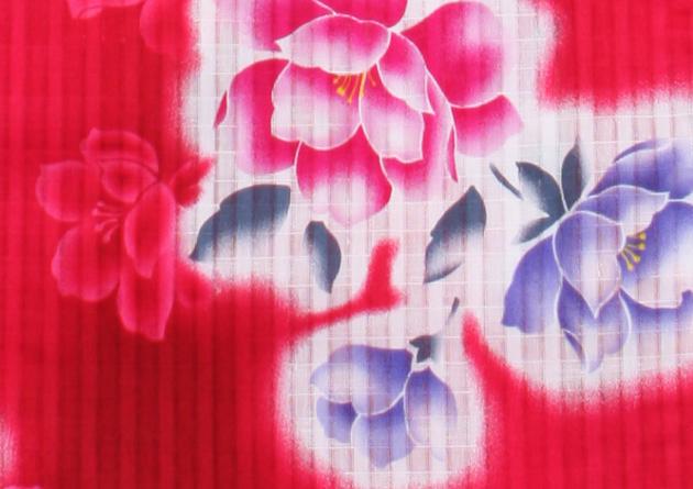 【浴衣 レンタル】レディース 3点セット☆浴衣・帯・下駄☆nt-y020 濃ピンク色/花