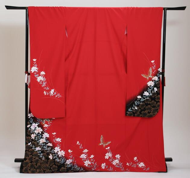 振袖 レンタル,〜168cm 赤/花に蝶 結婚式 成人式 結納 NT-203