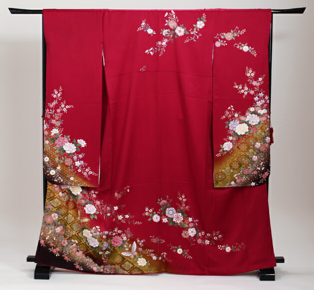 振袖 レンタル,〜163cm 赤色/四季花 菱形 蝶 結婚式 成人式 結納 NT-221