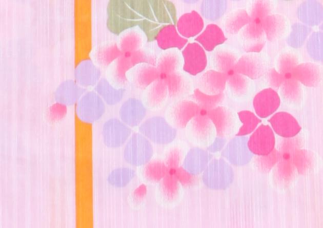 【浴衣 レンタル】レディース 3点セット☆浴衣・帯・下駄☆nt-y022 薄ピンク色/あじさい