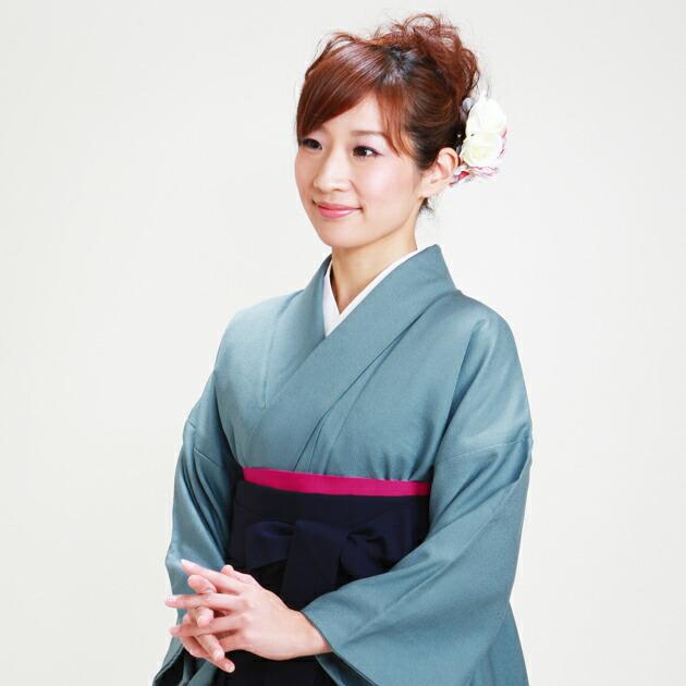 卒業式 袴 レンタル 青グレー色 身長〜160cm,7号〜13号 NT-muji85