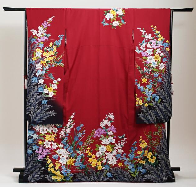 振袖 レンタル,〜168cm 赤色/四季花に蝶 結婚式 成人式 結納 NT-219