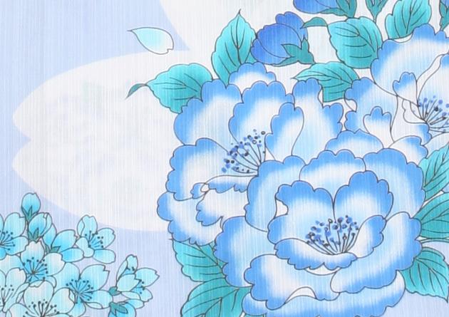 【浴衣 レンタル】レディース 3点セット☆浴衣・帯・下駄☆nt-y023 水色/桜&花