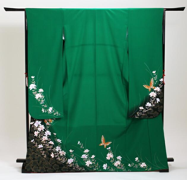 振袖 レンタル,〜168cm 緑/花に蝶 結婚式 成人式 結納 NT-205