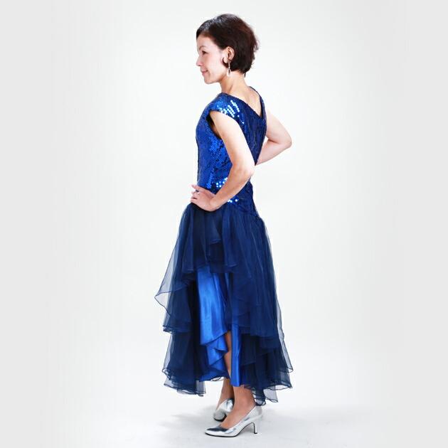 レディースドレス レンタル 9号 濃いブルー ワンピース 3243-k