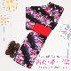 【浴衣 レンタル】レディース 3点セット☆浴衣・帯・下駄☆nt-y024 黒色/桜