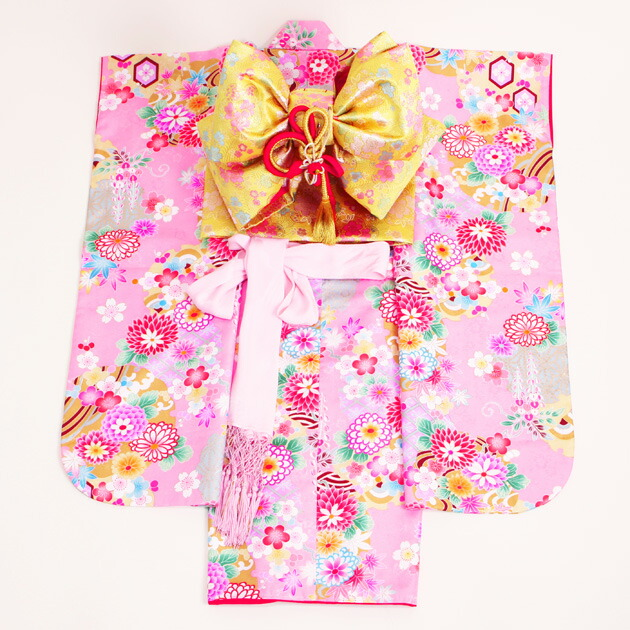 【紫式部】七五三 レンタル 女の子/5〜7歳 七五三着物 7歳 七五三着物7歳 ピンク色/花 卒園式 結婚式 ★NT-602