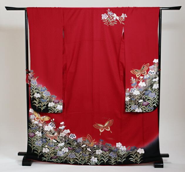 振袖 レンタル,〜168cm 赤色/蝶に花 結婚式 成人式 結納 NT-198